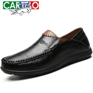 CARTELO 卡帝乐鳄鱼 KDLBCS05 男士商务休闲皮鞋 黑色 44
