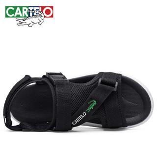 CARTELO KDL201 男士魔术贴凉鞋 黑色 42