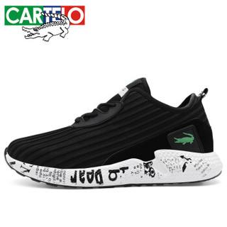CARTELO 卡帝乐鳄鱼 KDL853 男士网布休闲鞋 黑白 41