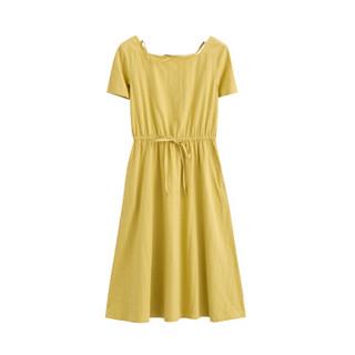 INMAN 茵曼 18821VP02046 净色高腰连衣裙 黄色 L