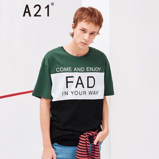 A21 4821330218 男士圆领落肩短袖T恤 深绿 L
