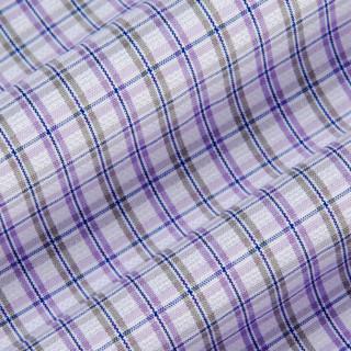 FIRS 杉杉 TCB1111-2D 男士休闲格子修身短袖衬衫 紫色 42
