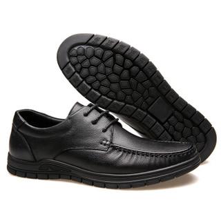 CARTELO 卡帝乐鳄鱼 4007 男士商务休闲皮鞋 黑色 39