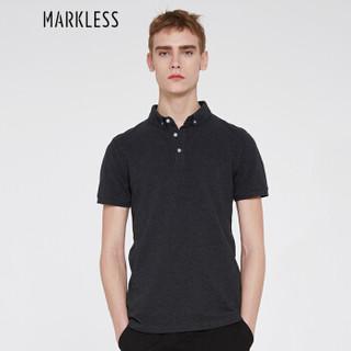 Markless TXA6688M 男士纯色翻领短袖POLO衫 黑灰色 L