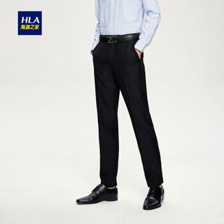 HLA 海澜之家 HKXAD1G007A 男士纯色西裤 黑色 175/90A(35)