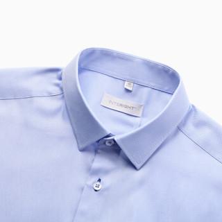 INTERIGHT 100支双小珠地衬衫男士商务免烫长袖 蓝色 41码