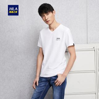 HLA 海澜之家 HNTBJ2E066A 男士V领短袖T恤 米白 52