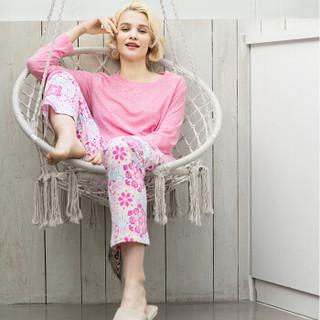 InteRight 女士彩点麻长袖家居服套装 (粉红色、L)