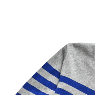 CARTELO 16018KE2201 男士条纹拼接圆领针织衫 宝蓝 XL