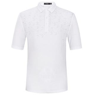 FIRS 杉杉 DDX1808-1 男士休闲几何图案短袖T恤 白色  180