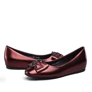 YEARCON 意尔康 7571DE26523W 女士平底浅口单鞋 酒红 38
