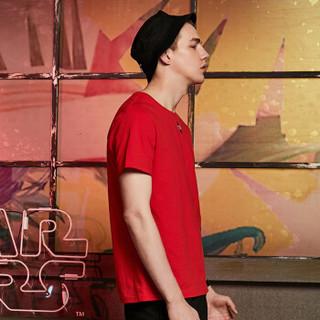 Semir 森马 19038001294 男士圆领短袖T恤 红色调 L