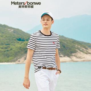 Meters bonwe 美特斯邦威 661267 男士条纹短袖T恤 黑白组 185/104