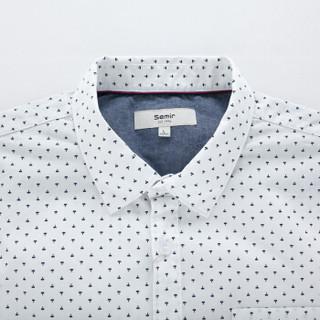 Semir 森马 10415051502 男士方领长袖衬衫 白色调 L