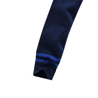 CARTELO 16018KE2201 男士条纹拼接圆领针织衫 宝蓝 3XL