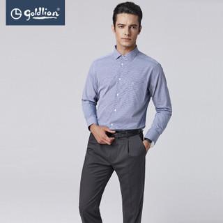 goldlion 金利来 ESLEB963044 男士纯棉格纹长袖衬衫 藏蓝 S