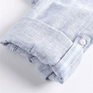 GIORDANO 佐丹奴 90047218 男士天然麻棉修身休闲衬衫 蓝色 170/96A
