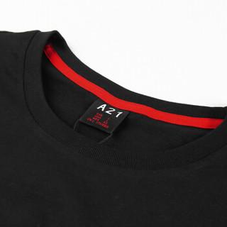 A21 4821330046 男士迷彩拼接圆领短袖T恤 黑色 XL