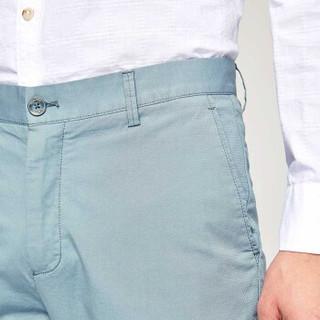 HLA 海澜之家 HKCAD1E042A 男士提花直筒休闲裤 浅蓝花纹 32