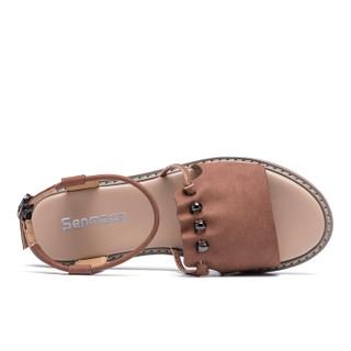 Semir 森马 528211811 女士罗马一字扣凉鞋 红棕色 37