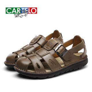 CARTELO KDLBCS02 男士罗马包头凉鞋 卡其 39