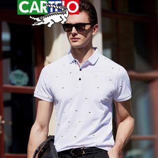 CARTELO 9095 男士短袖翻领POLO衫 白色 XXXL