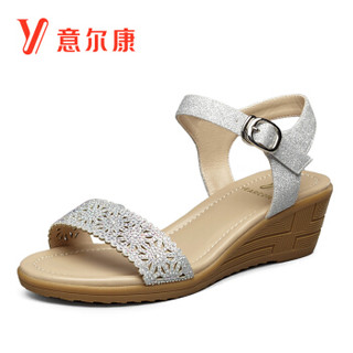 YEARCON 意尔康 8353ZL29901W 女士坡跟一字扣带凉鞋 银色 39