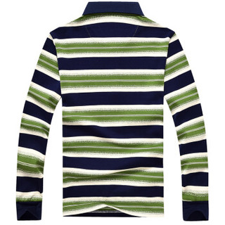 CARTELO 16001KE0906 男士翻领条纹长袖T恤 绿色 2XL