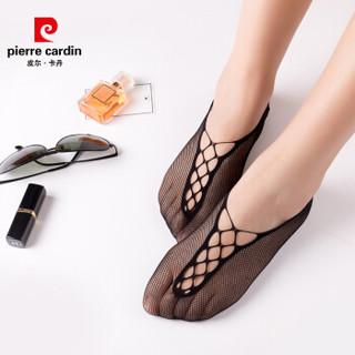 皮尔卡丹女士船袜6双装 隐形船袜 无缝船袜 15D薄款女士短袜纯色网眼镂空隐形浅口袜子 黑色