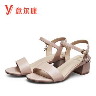 YEARCON 意尔康 8351ZL29902W 女士一字扣粗跟凉鞋 粉红 37