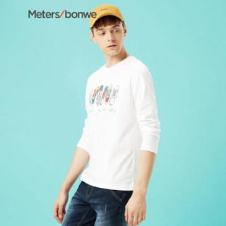 Meters bonwe 美特斯邦威 661084 男士印花长袖T恤 亮白 185/104