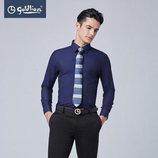 goldlion 金利来 ECLEB963027 男士休闲长袖衬衫 藏蓝 2XL