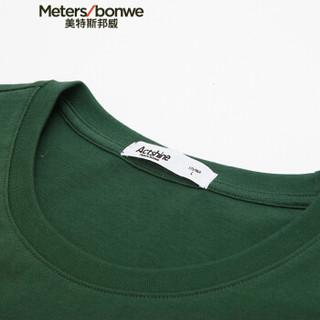 Meters bonwe 美特斯邦威 661348 男士卡通印花短袖T恤 苔藓绿 180/100