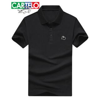 CARTELO 18001KE3305 男士短袖翻领棉POLO衫 黑色 L