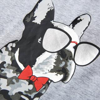 HLA 海澜之家 HNTBJ2E047A 男士趣味动物花纹短袖T恤 浅灰花纹 56