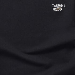 CARTELO 16057KE9518 男士纯色圆领长袖T恤 黑色 3XL