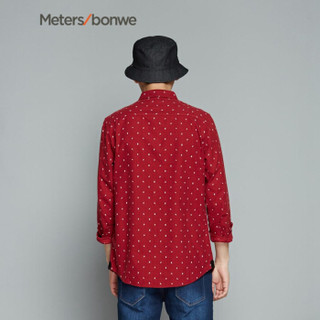 Meters bonwe 美特斯邦威 722180 男士印花长袖衬衫 红色组 165/88A