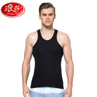 浪莎男士背心纯棉修身型紧身运动健身打底透气白色夏季潮青年 黑色 XL