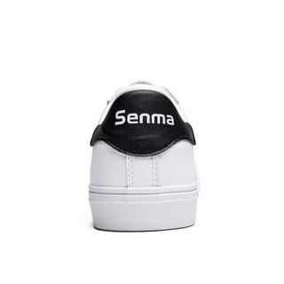 Semir 森马 WB797194 男士镂空透气小白鞋 白黑色 40