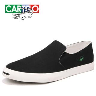 CARTELO 卡帝乐鳄鱼 KDL180318 男士帆布板鞋 黑色 42