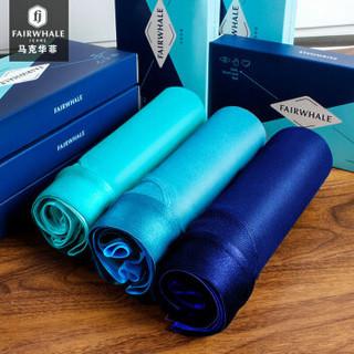 MARK FAIRWHALE 马克华菲 8100 男士平角裤 (3条装、XXL、深蓝湖泊蓝天蓝)