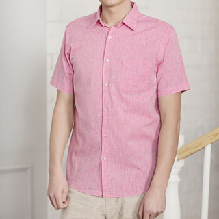 INTERIGHT 麻棉混纺 男士休闲 短袖衬衫 珊瑚红 L码