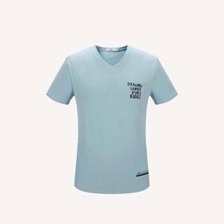 HLA 海澜之家 HNTBJ2E365A 男士V领字母短袖T恤 蓝灰 50