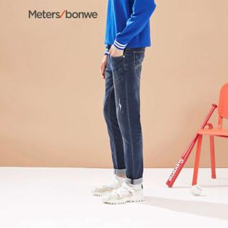 Meters bonwe 美特斯邦威 756072 男士轻怀旧牛仔长裤 牛仔中蓝 185/96