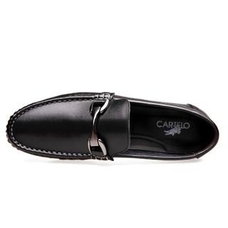 CARTELO 2069 男士套脚休闲皮鞋 黑色 38