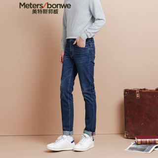 Meters bonwe 美特斯邦威 602053 男士修身牛仔长裤 中蓝 175/84A