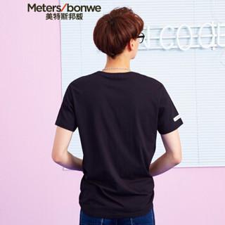 Meters bonwe 美特斯邦威 661449 男士卡通印花短袖T恤 影黑 170/92
