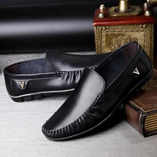 CARTELO 卡帝乐鳄鱼 2066 男士一脚蹬休闲皮鞋 黑色 40