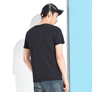 Semir 森马 12216001219 男士圆领半袖T恤 黑色 XL