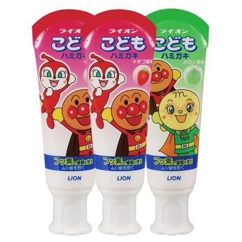 LION 狮王 面包超人 儿童牙膏 三支装(2草莓味40g+1哈密瓜味40g) *5件